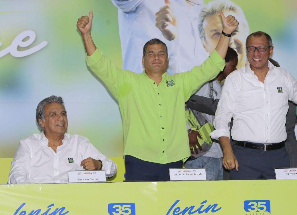 Lenin Moreno, Rafael Correa y Jorge Glas I Foto archivo Cambio Ecuador.